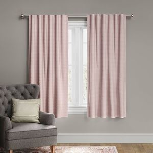 Voile Overlay Blackout Window Curtains Set of Two